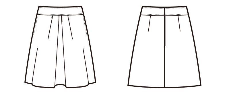 en joie(アンジョア) 51643 [通年]シワになりにくいフロントタックのフレアースカート 無地 ハンガーイラスト・線画