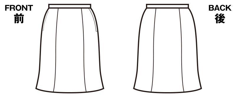 en joie(アンジョア) 56302 夏に適した清涼感ある素材のマーメイドスカート 無地 ハンガーイラスト・線画