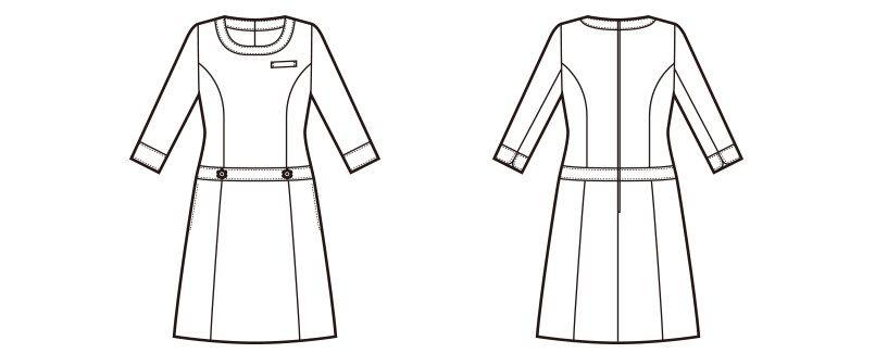 en joie(アンジョア) 66410 [春夏用]ボーダー×ネイビーが清楚な七分袖ワンピース(女性用) ハンガーイラスト・線画