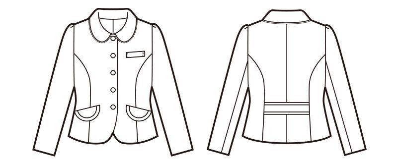 en joie(アンジョア) 81520 [春夏用]上品かわいいベージュ×黒の配色の好印象ジャケット 無地 ハンガーイラスト・線画