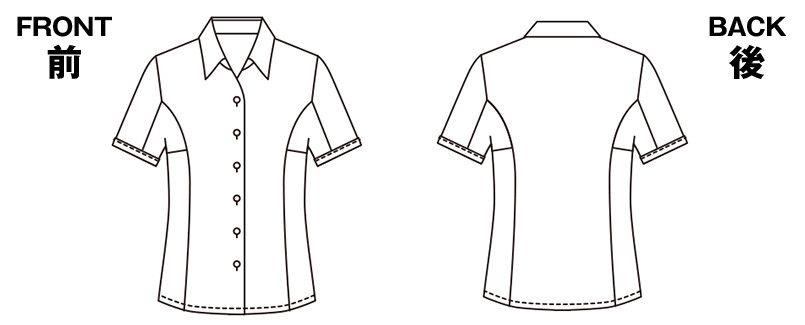 ESB405 enjoy ストレッチ性抜群でシワも防ぐ高機能な半袖シャツブラウス ハンガーイラスト・線画