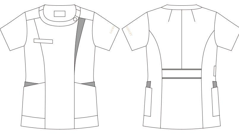 LW601 ローラアシュレイ 半袖ナースジャケット(女性用) ハンガーイラスト・線画