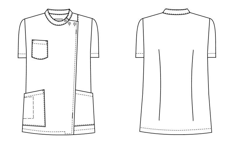 KES5172 ナガイレーベン(nagaileben) ケックスター 横掛半袖(女性用) ハンガーイラスト・線画