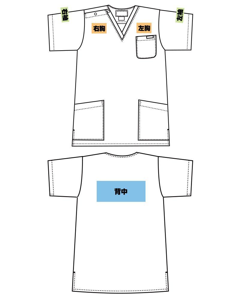 [在庫限り/返品NG]7015SC FOLK(フォーク)/フラワー レディース花柄スクラブ(女性用) プリントエリア
